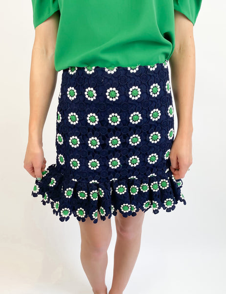 Chic Floral Embroidered Skirt