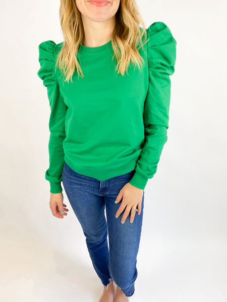 Gameday Puff Sleeve Top - Green