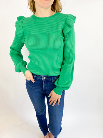 Take for Granted Ruffle Shoulder Sweater - Holly Green