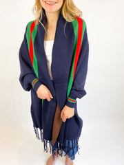 Girl Gang Stripe Sleeve Poncho