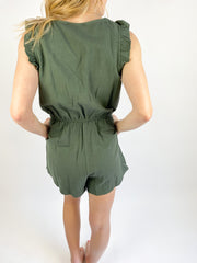 In Sight Ruffle Sleeve Romper - Olive
