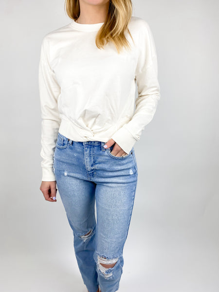 Katy Twist Front Cotton Pullover