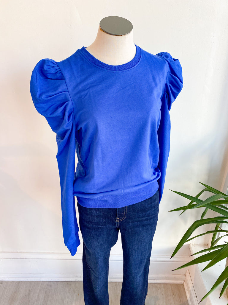 Gameday Puff Sleeve Top - Blue