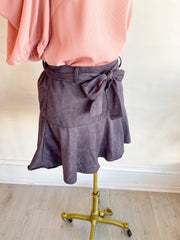 Sporty Me Suede Tie Skirt - Grey