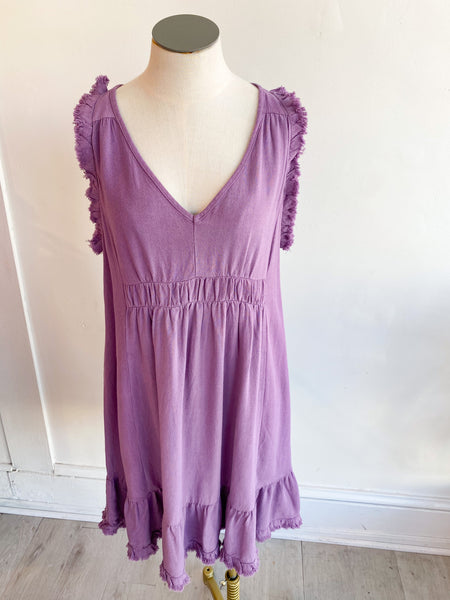 Grace Frayed Sleeveless Dress - Grape