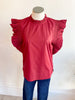 Poppy Seed Ruffle Sleeve Top - Burgundy