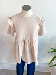 Picture Perfect Mixed Ruffle Top - Beige