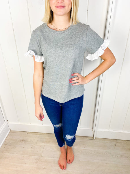 Bailey Ruffle Contrast Top - Grey
