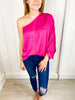 Bubble Over One Shoulder Satin Top - Fuchsia