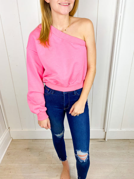Holly One Shoulder Sweatshirt - Candy