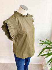 Poppy Seed Ruffle Sleeve Top - Olive