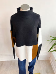 Come on Over Colorblock Sweater - Black
