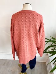 Popcorn Me Dot Sweater - Marsala