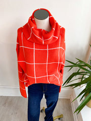 Kiss and Makeup Grid Sweater - Orange