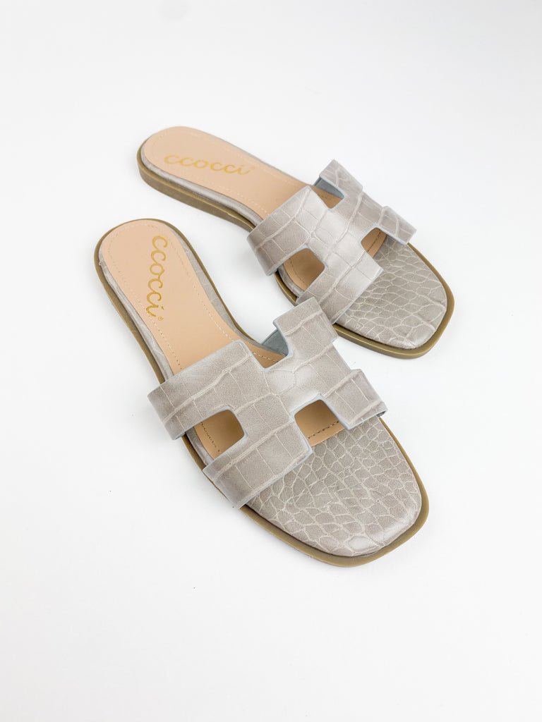 Fausta Croc Embossed Slides - Grey