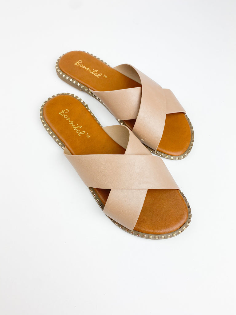 Atlantis Cross Strap Sandals - Natural