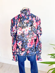 Garden State Wild Floral Mock Neck Blouse