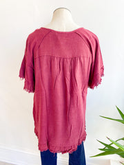 Time and Time Again Tunic Top - Burgundy