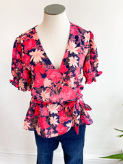 Floral Punch Wrap Top