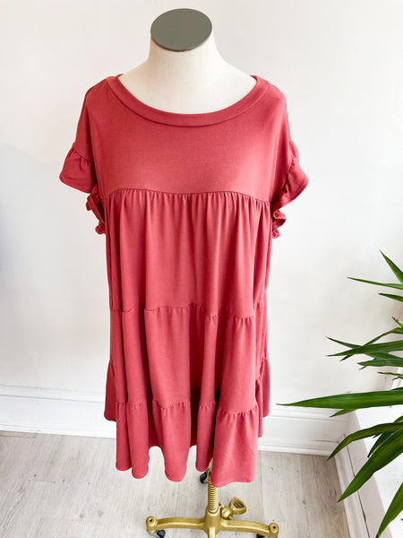 A Time or Two Babydoll Dress - Marsala