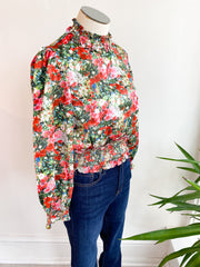 Floral Frenzy Silk Cropped Top