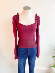 Loretta Square Neck Ruffle Cropped Sweater - Wine