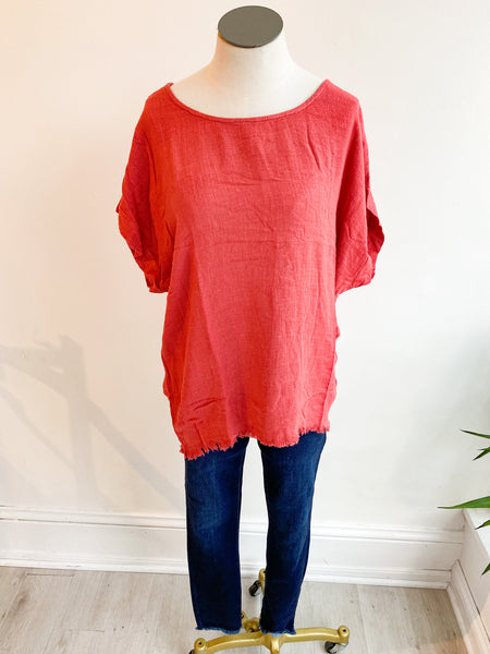 Time and Time Again Tunic Top - Red Clay