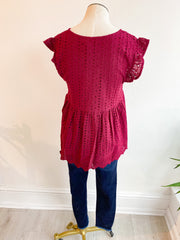 Charlotte Eyelet V Neck Top - Burgundy