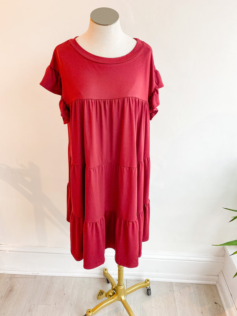 A Time or Two Babydoll Dress - Wine