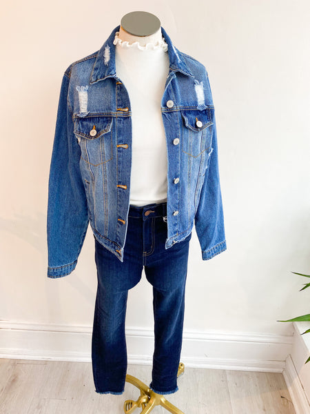 Uptown Distressed Denim Jacket