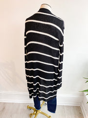 Claire Long Sleeve Ribbed Open Cardigan - Black/White
