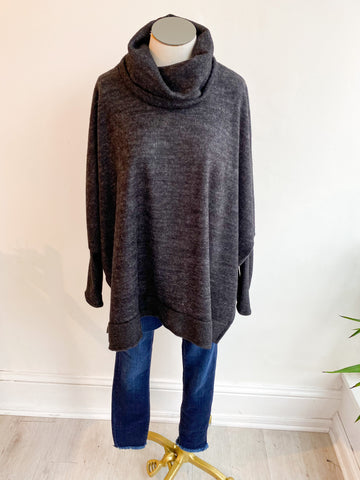 Last to Love Cowl Neck Sweater - Charcoal