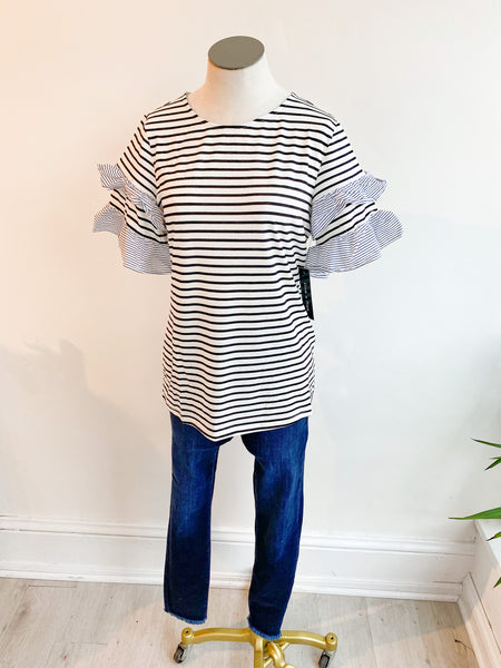 Mary Stripe Flutter Sleeve Top