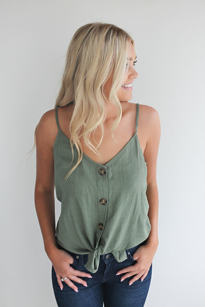 First Dibs Front Tie Top - Olive