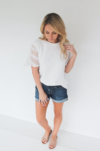 Send the Details Crochet Sleeve Top - White