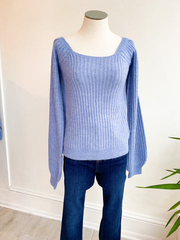 My Way Square Neck Sweater - Sapphire