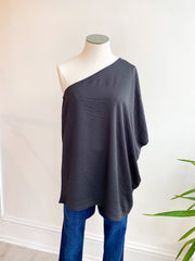 Bubble Over One Shoulder Satin Top