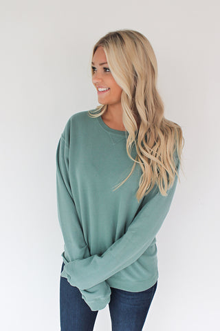 Down in the Sand Cotton Pullover - Cypress Green
