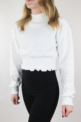 Active and Back Cropped Sweatshirt - White