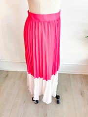 Pretty Lady Color Block Pleated Skirt