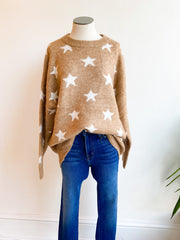 Star Gazer Sweater - Tan/White