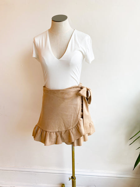 Sweet Pea Suede Tie Skirt - Taupe