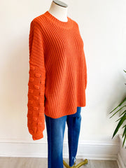 Camille Bubble Sleeve Sweater - Pumpkin