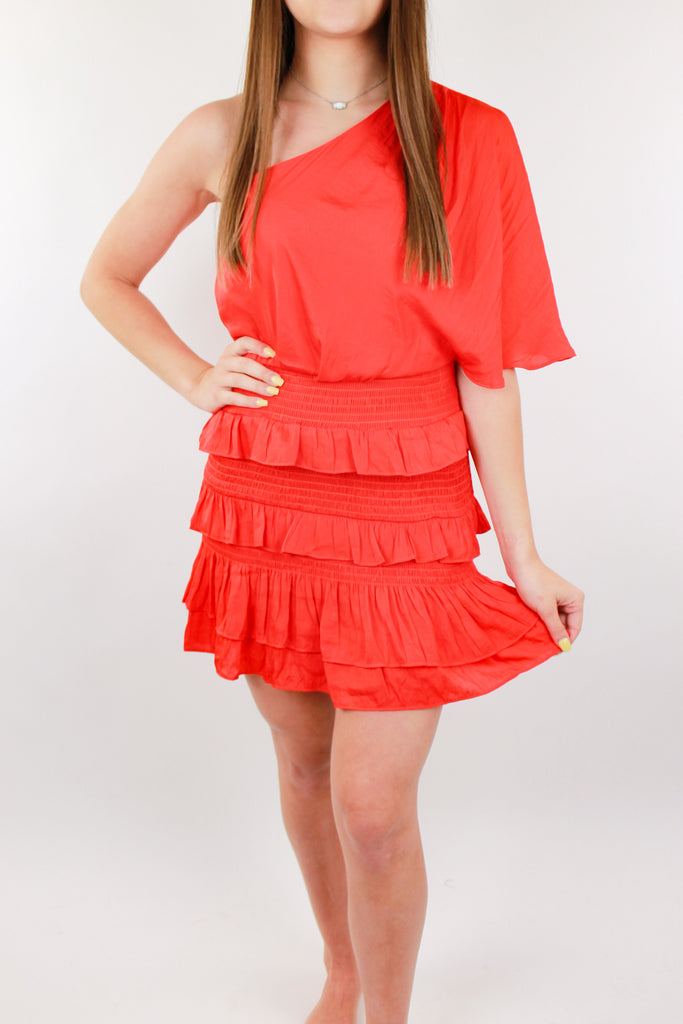5 O'Clock Somewhere One Shoulder Dress - Orange