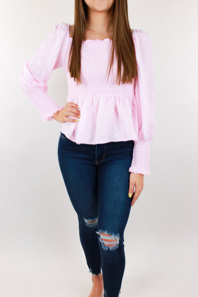 Petal Pink Gingham Puff Sleeve Top