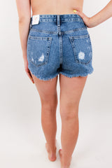 Atherton Destroyed Shorts - Medium Denim