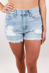 Eloise High Rise Destroyed Shorts - Light Denim