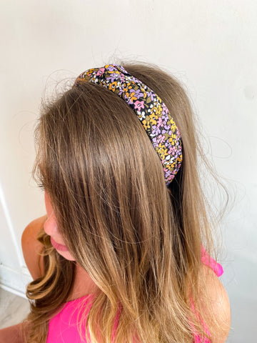 Ditsy Floral Knot Headband - Purple