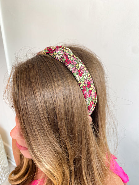 Ditsy Floral Knot Headband - Berry