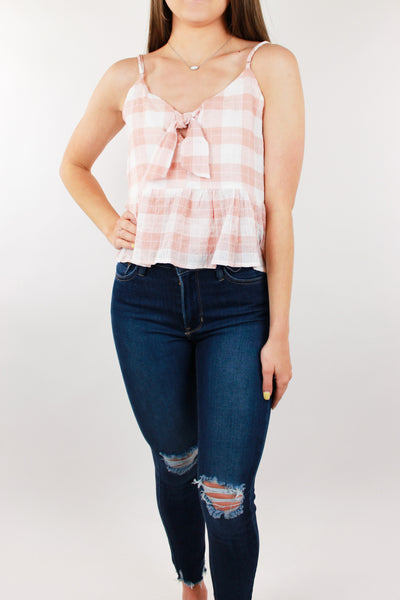 Best You Can Gingham Top - Blush